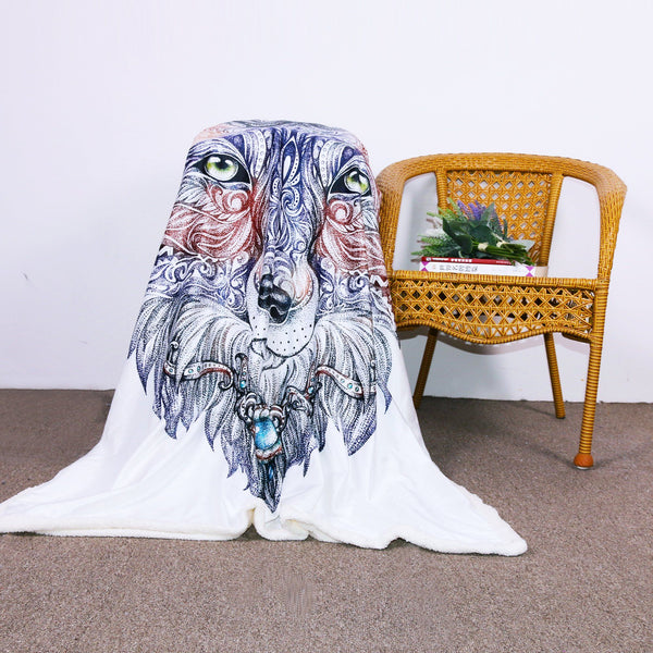 Tribal Wolf Throw Blanket