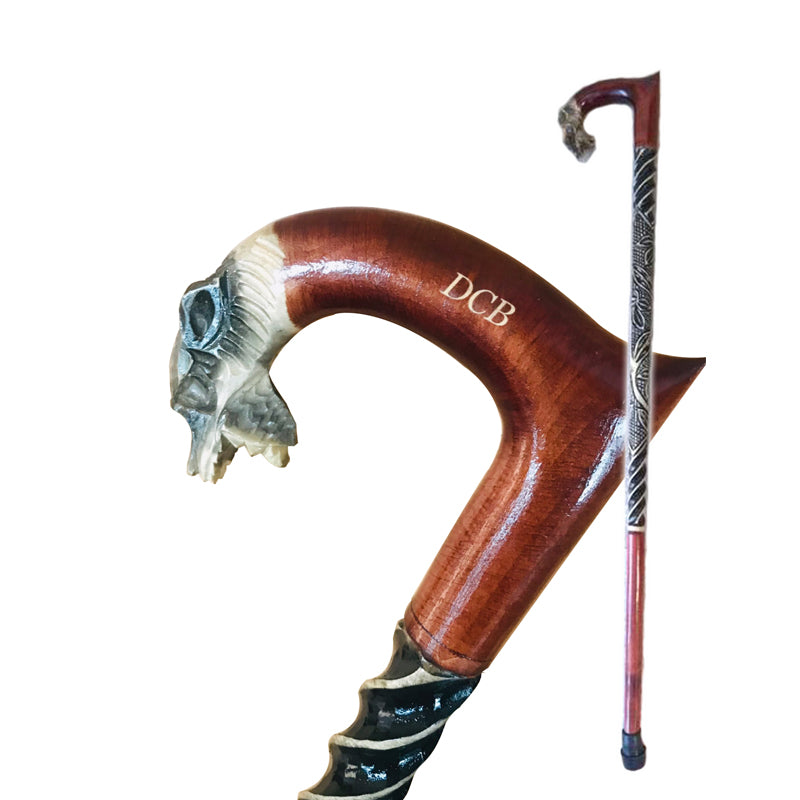 Full Color Wolf Wooden Cane
