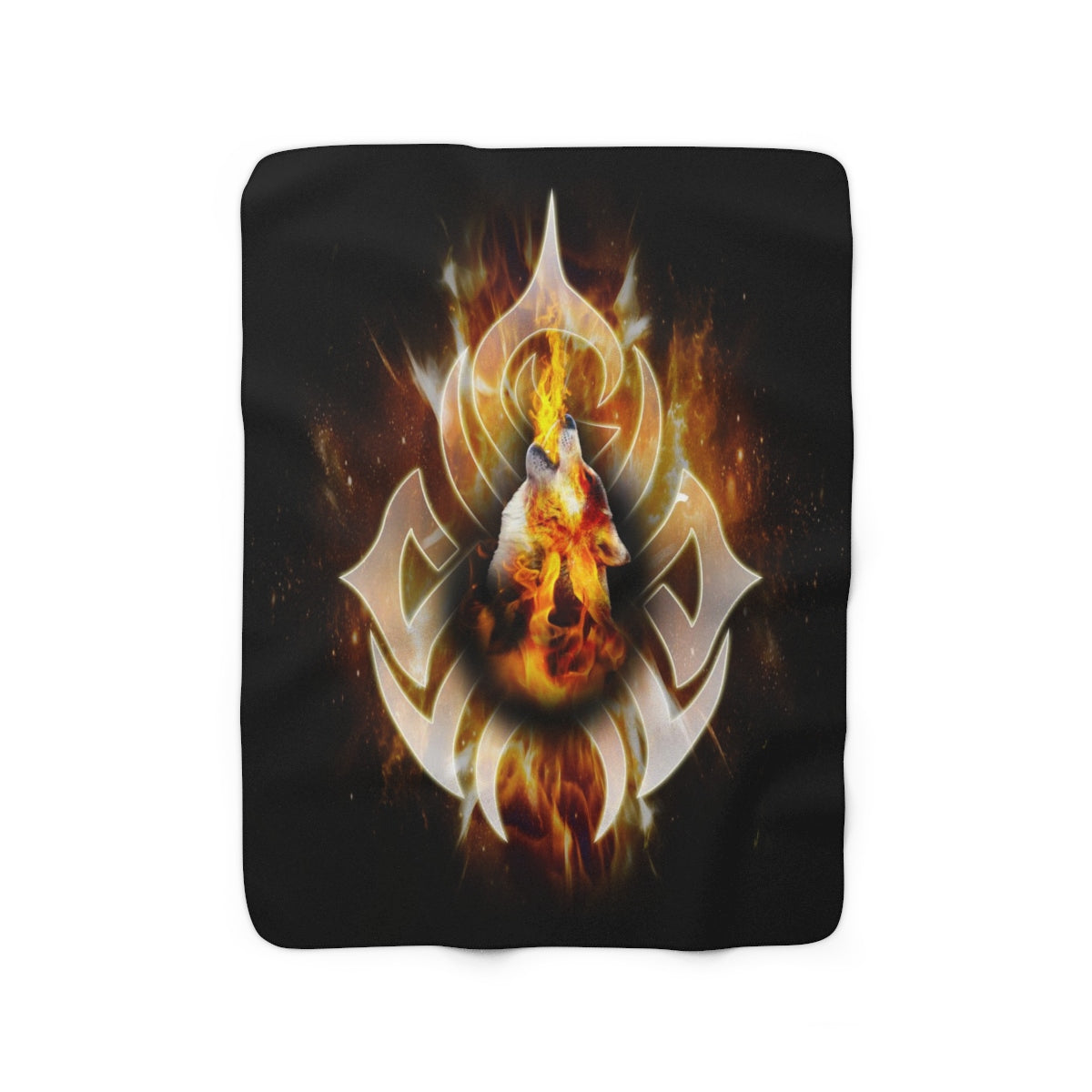 Tattoo Fire Wolf Sherpa Fleece Blanket