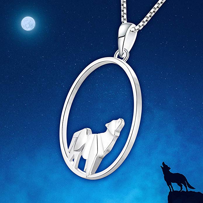 Wolf 925 Sterling Silver Origami Necklace