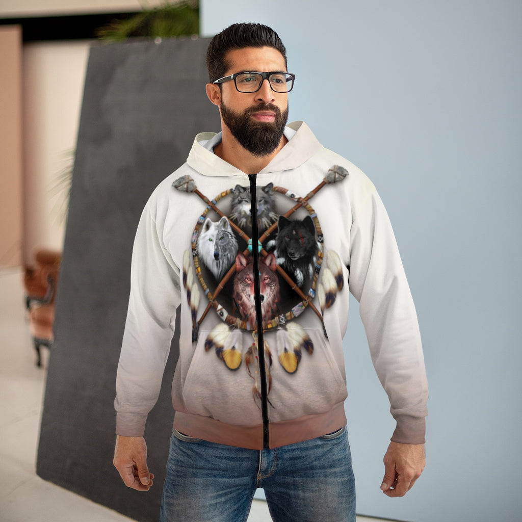 4 Wolves Warrior Light All Over Print Zip Hoodie