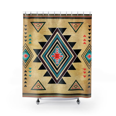 Geometric Native Shower Curtains