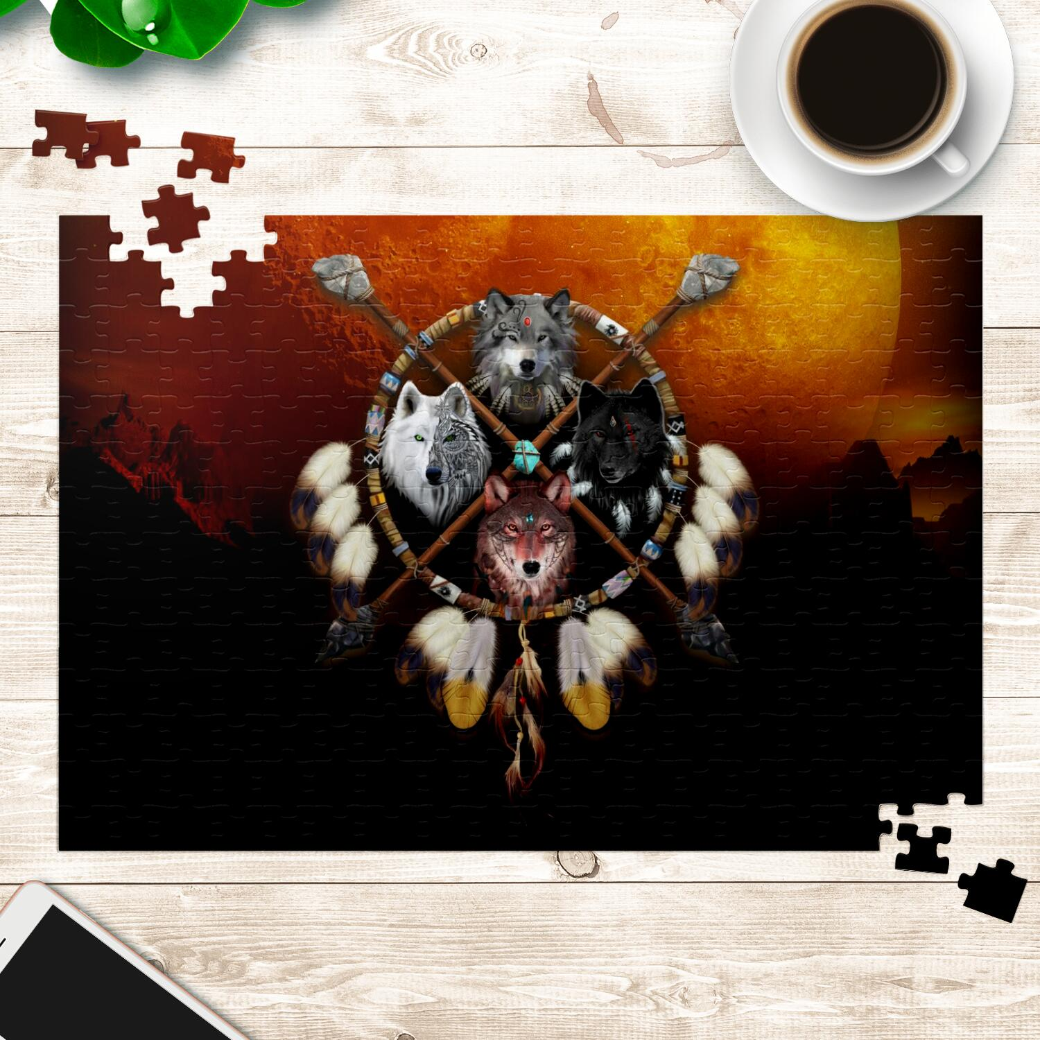 4 Wolves Warrior Jigsaw Puzzles