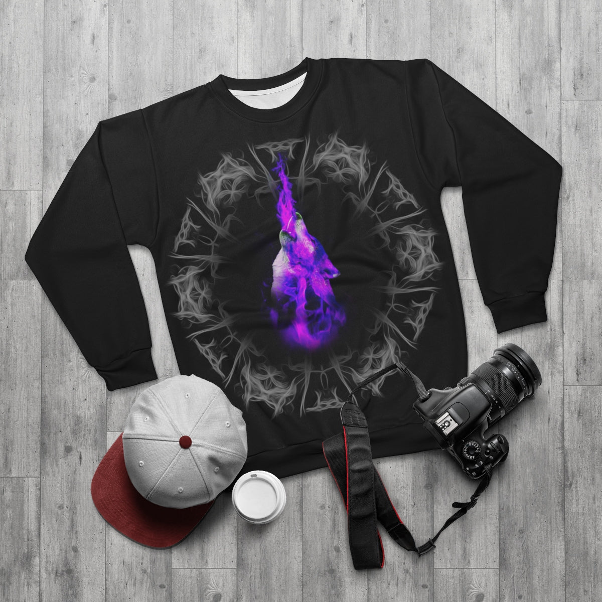 Purple Blazing All Over Print Sweatshirt