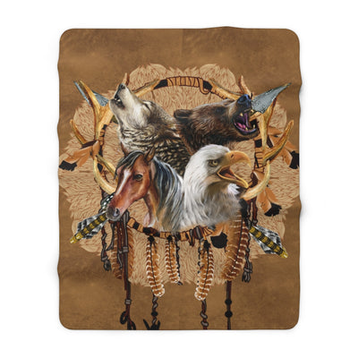 Totem Warriors Sherpa Fleece Blanket