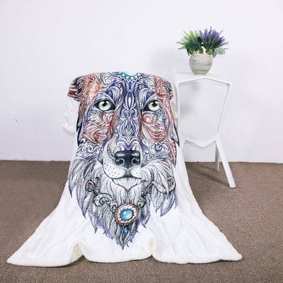 Tribal Wolf Sherpa Blanket