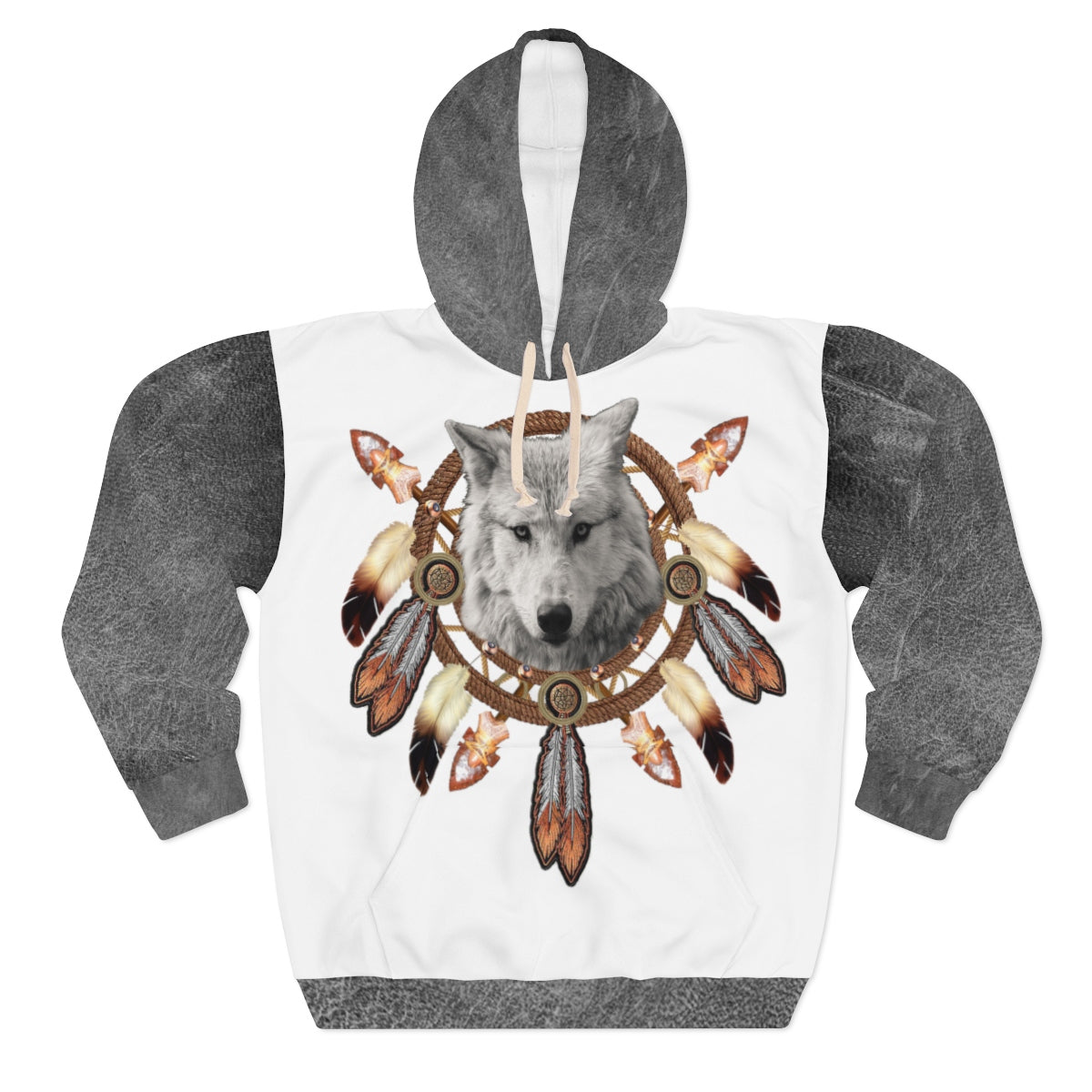 Dreamcatcher Wolf Grey All Over Print Hoodie