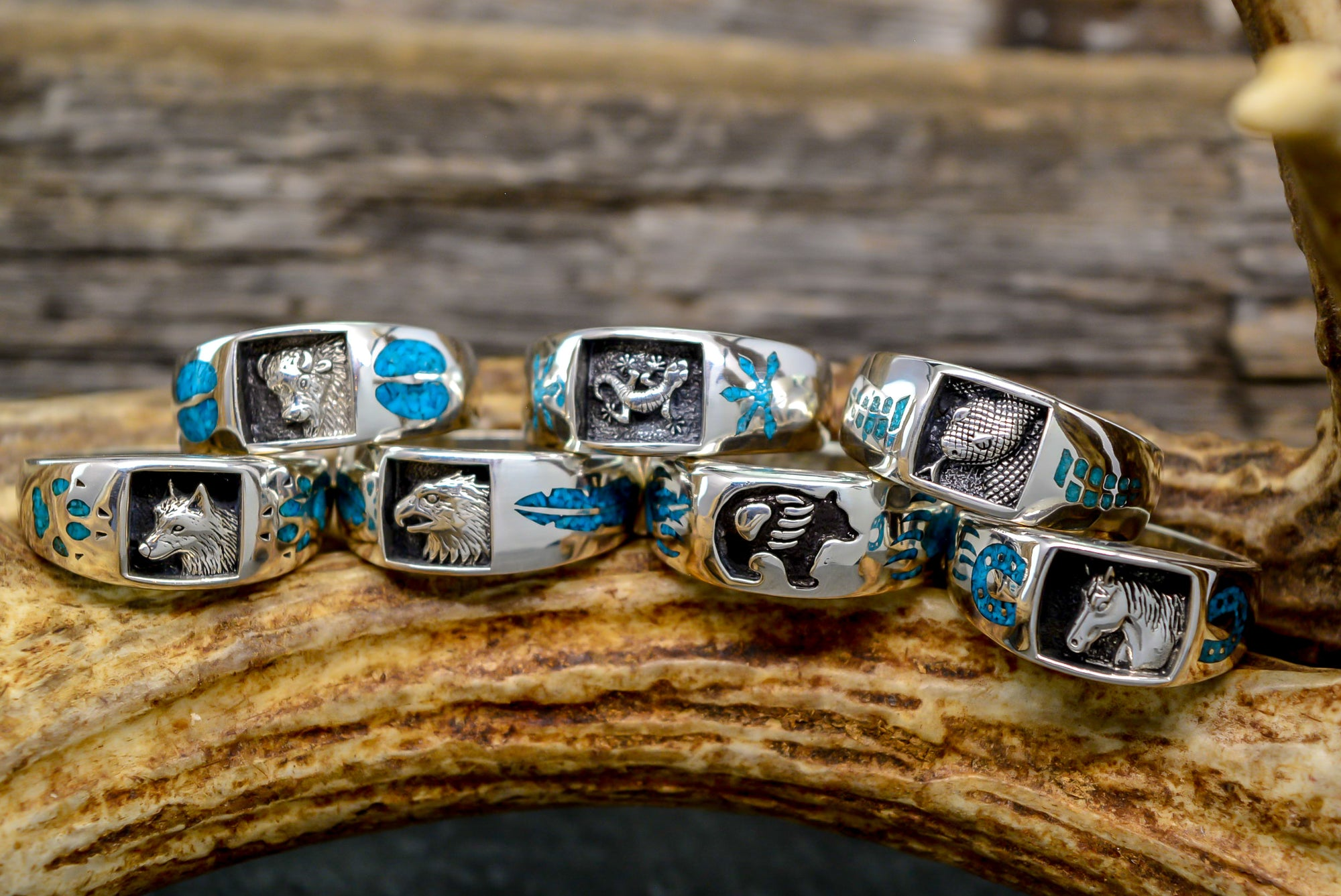 Customize a Sterling Silver Spirit Ring - Bear, Wolf, Eagle, Horse, Lizard, Buffalo, Snake