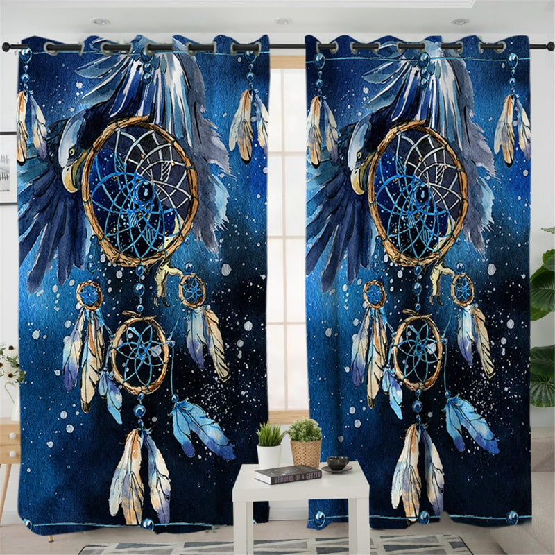 Blue Galaxy Dreamcatcher Curtains