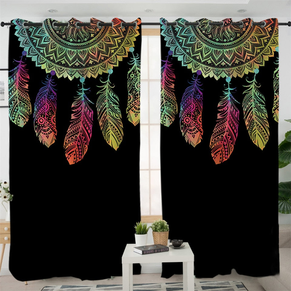 Colorful Dreamcatcher Native American Tribal Art Wolf Fabric Shower Curtain Set