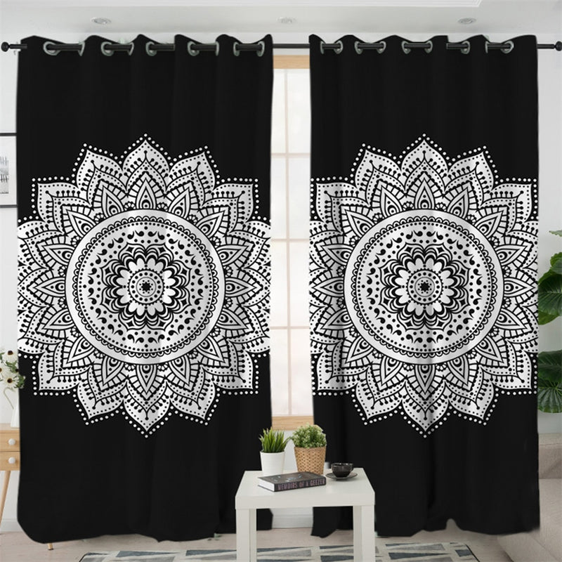 Black and White Mandala Curtains
