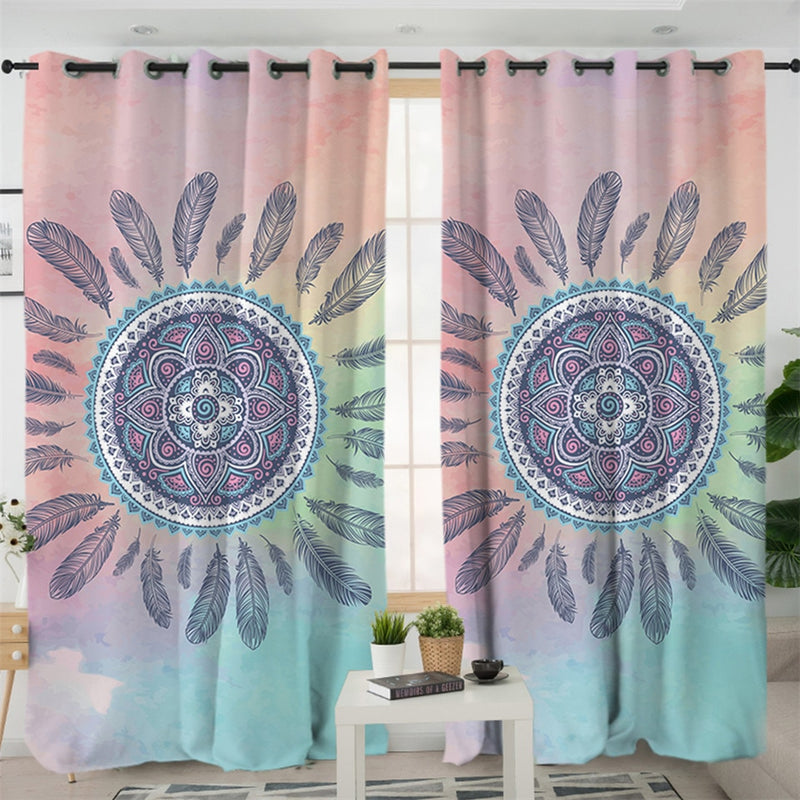 Pink and Blue Mandala Curtains