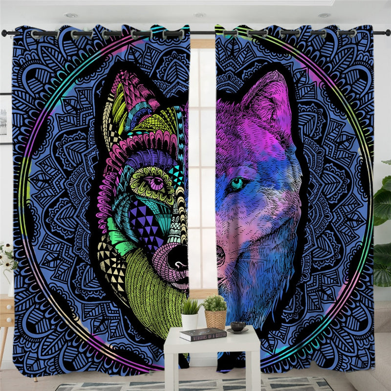 Tribal Wolf Dreamcatcher Curtains