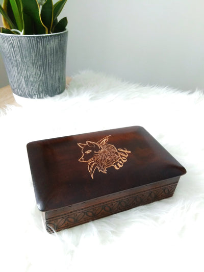 Wooden Wolf Box (Small)