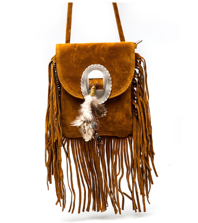 Leather Tassels Messenger Bag