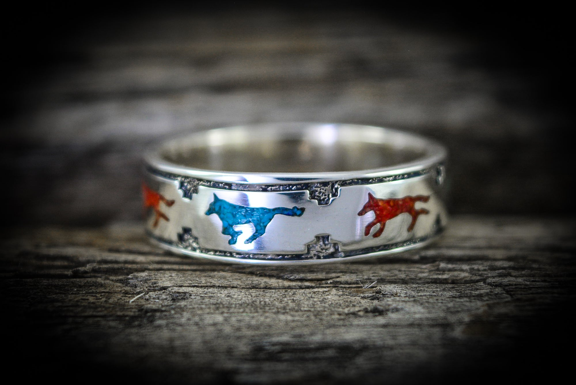 Leader of The Pack Wolves Ring 925 Sterling Silver