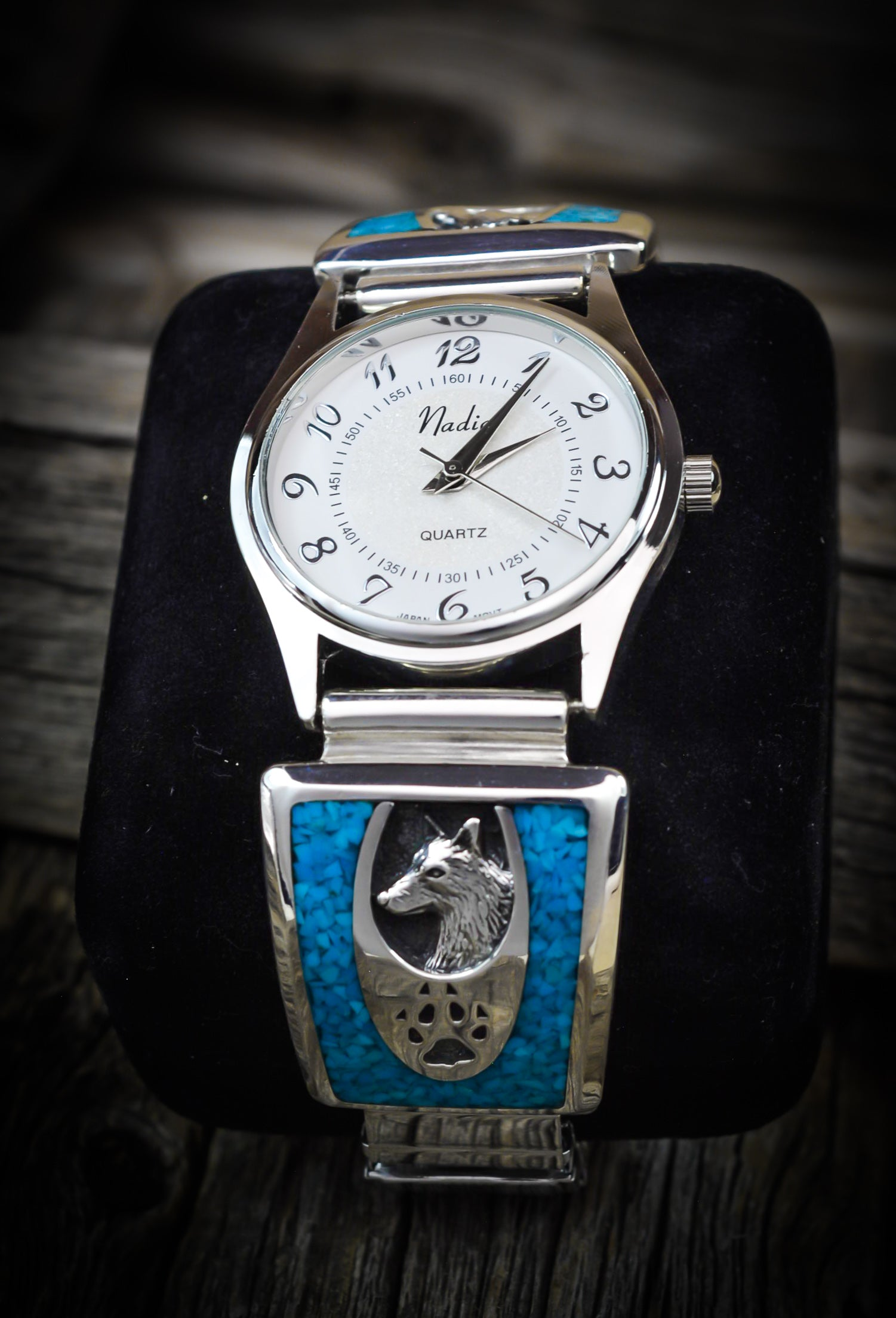 Wolf and Wolf Paw Sterling Silver Watch - 925 Sterling Silver