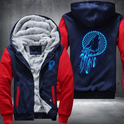 Glowing Dreamcatcher Wolf Fleece Zipper Jacket