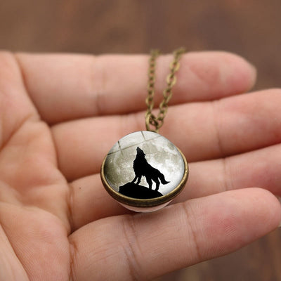 Glass Ball Moon Wolf Time Stone Necklace
