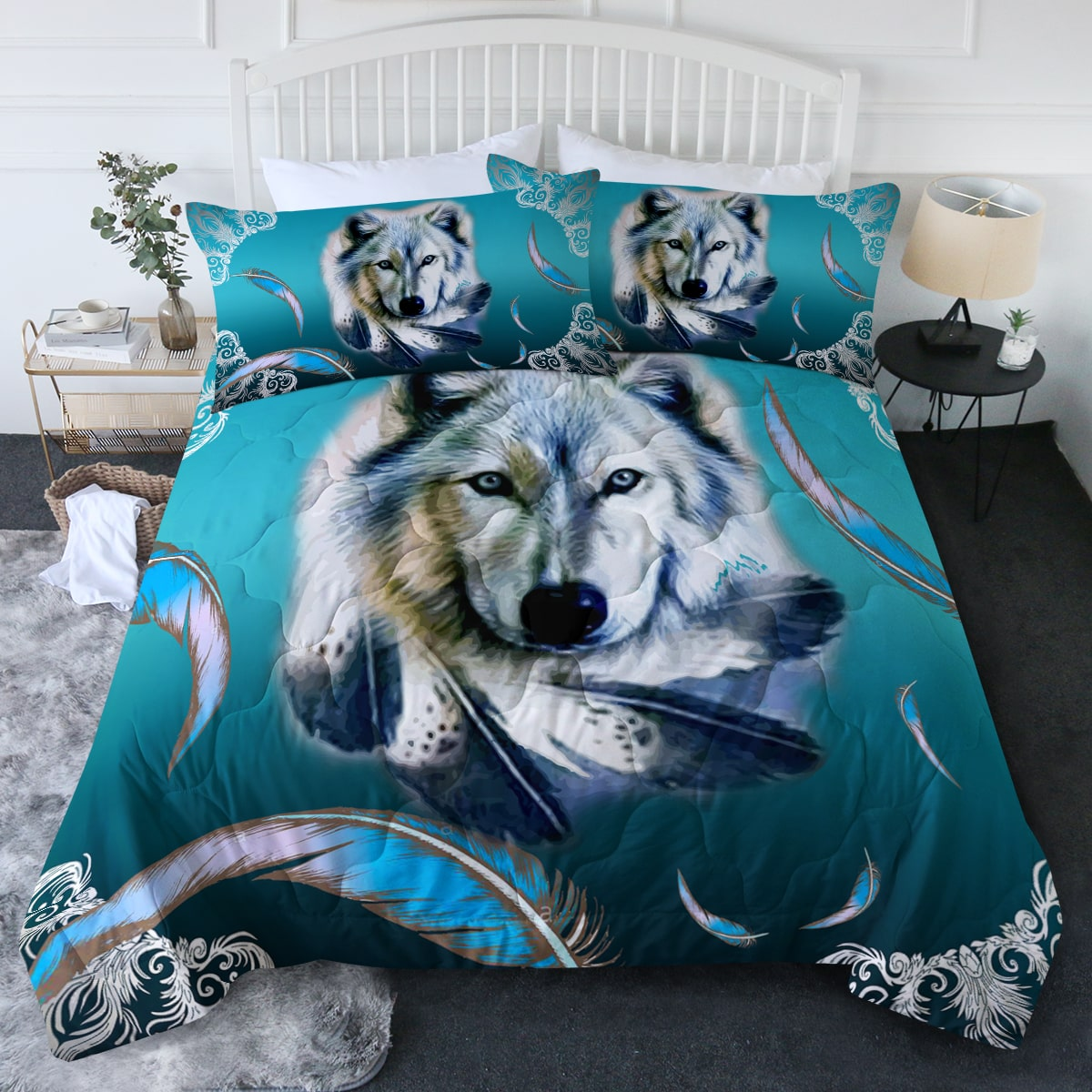 Turquoise Wolf Feather Comforter Bedding Set