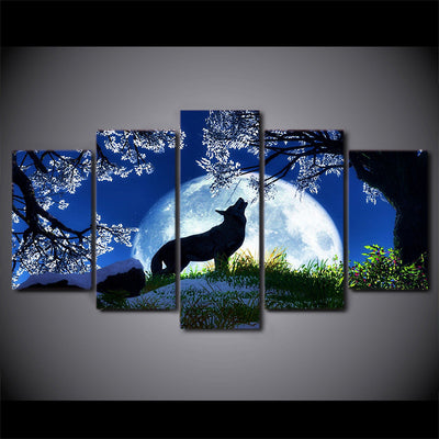 Howling Wolf Canvas 5pcs- FRAMED