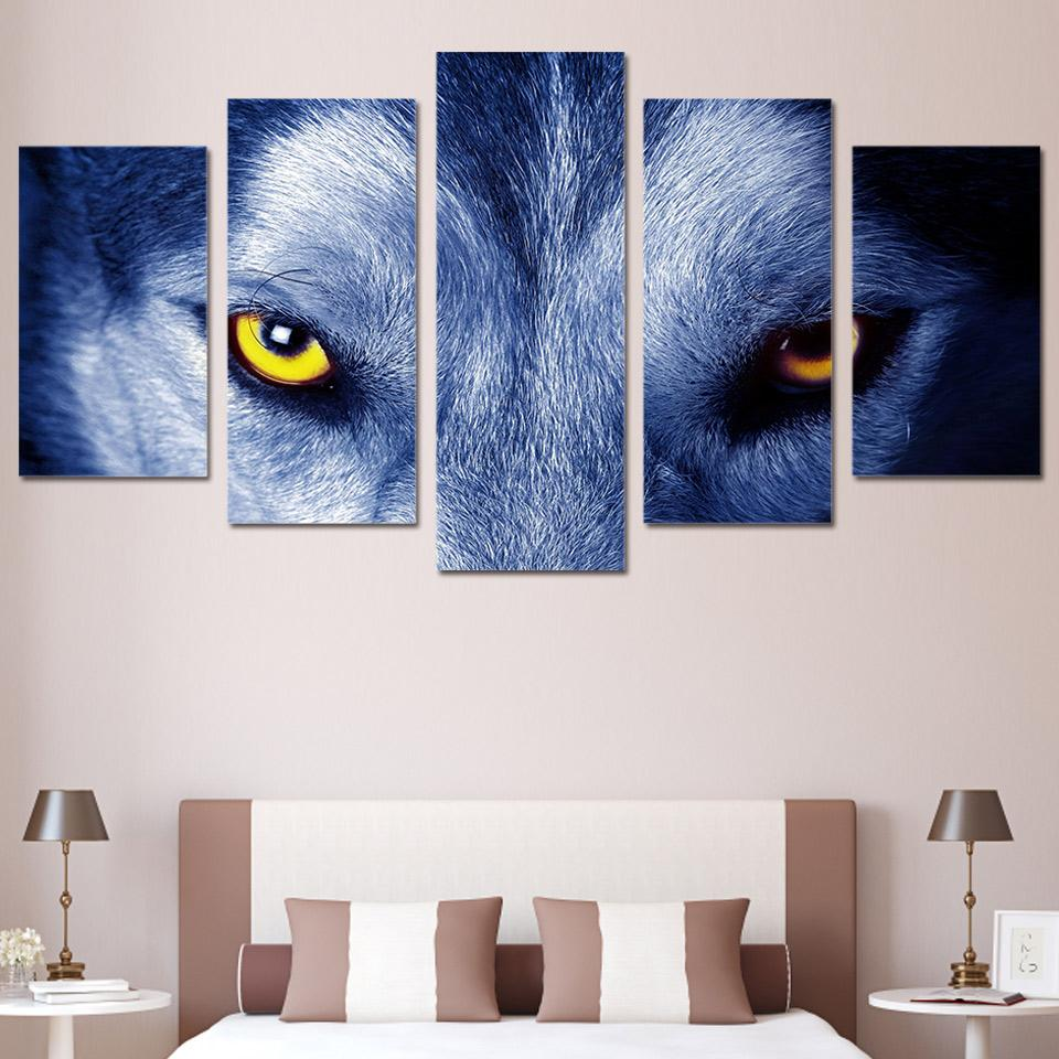 Wolf Eyes Group  Canvas 5pcs