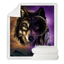 Load image into Gallery viewer, Wolf Dreamcatcher Sherpa Blanket