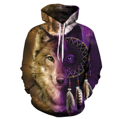 Wolf Dreamcatcher Face All Over Print Hoodie