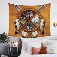 Load image into Gallery viewer, 4 Wolves Tapestry