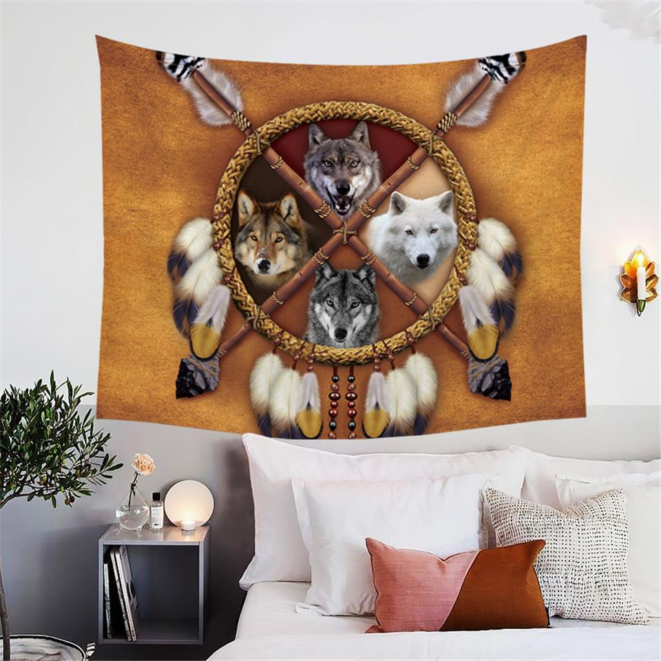 4 Wolves Tapestry