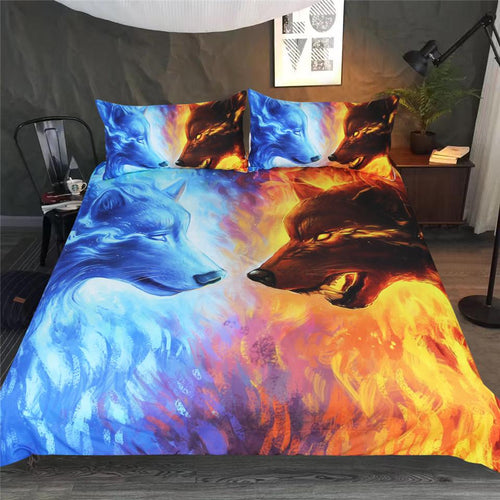 Fire and Ice Wolf Bedding Set