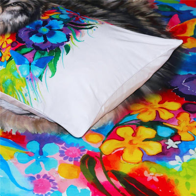 Floral Wolf Pillowcases