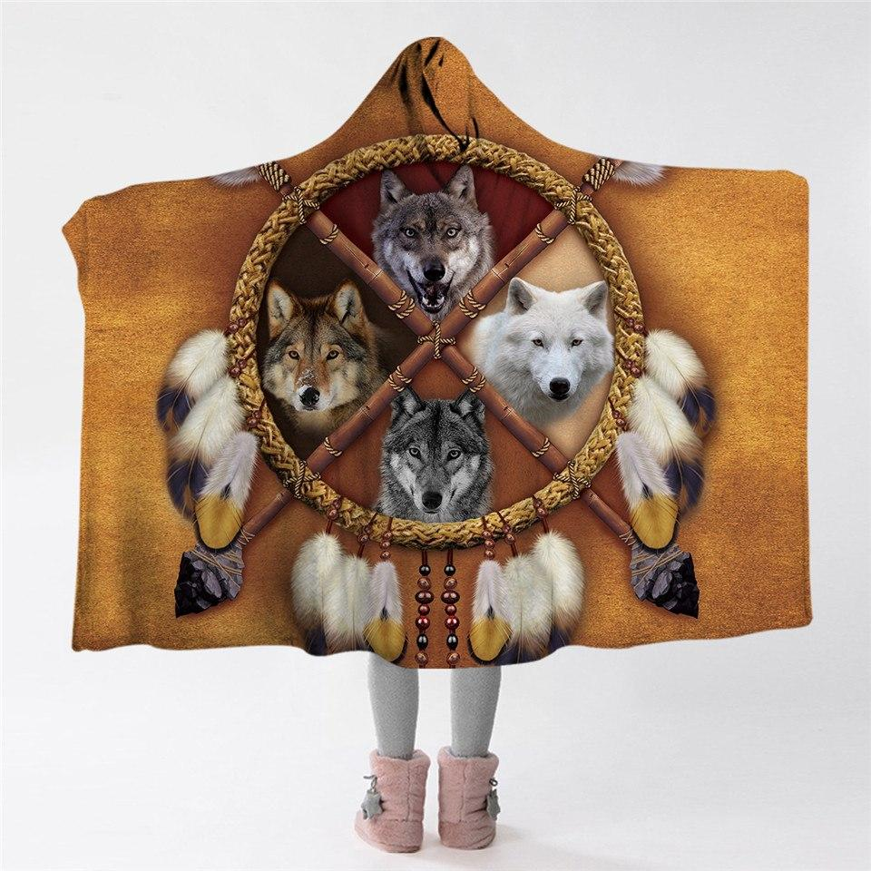 4 Wolves Hooded Blanket