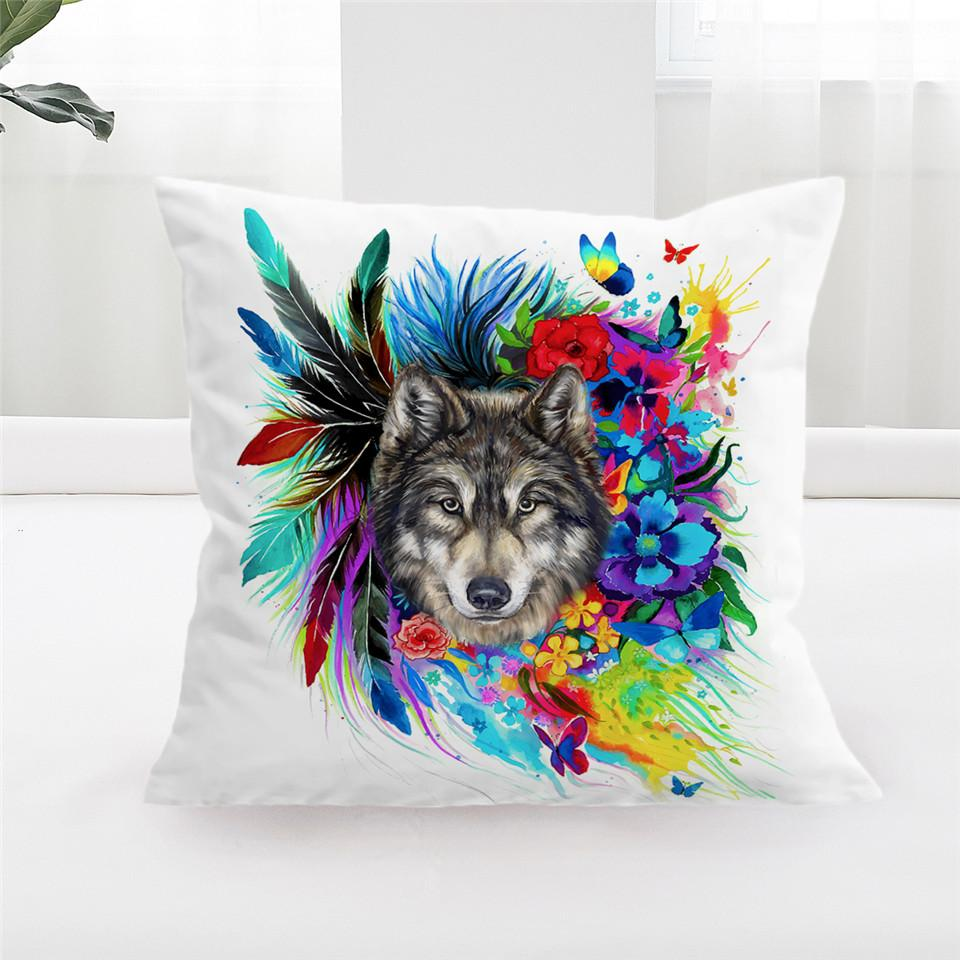 Floral Wolf Pillow Case