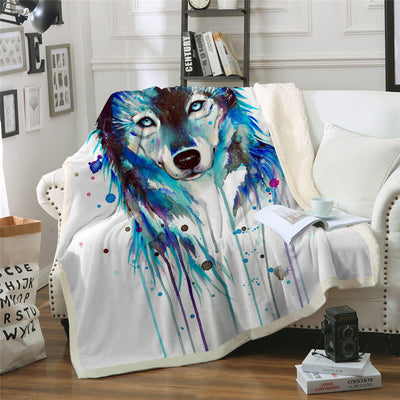 Ice Wolf Sherpa Blanket
