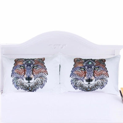 Tribal Wolf Art Pillowcases- Set of 2
