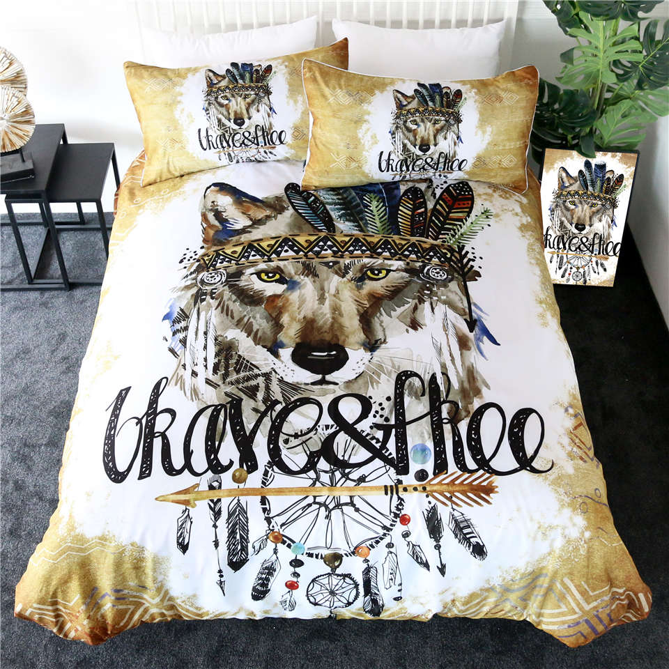 Native Wolf Bedding Set