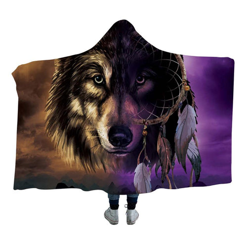 Wolf Dreamcatcher Face Hooded Blanket