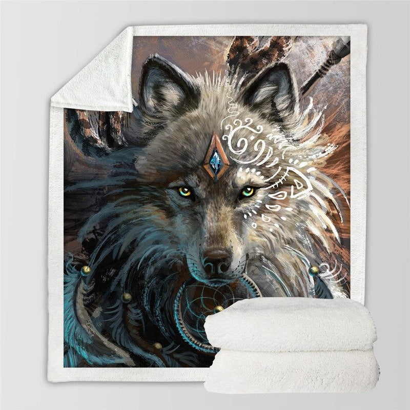Wolf Warrior Sherpa Blanket