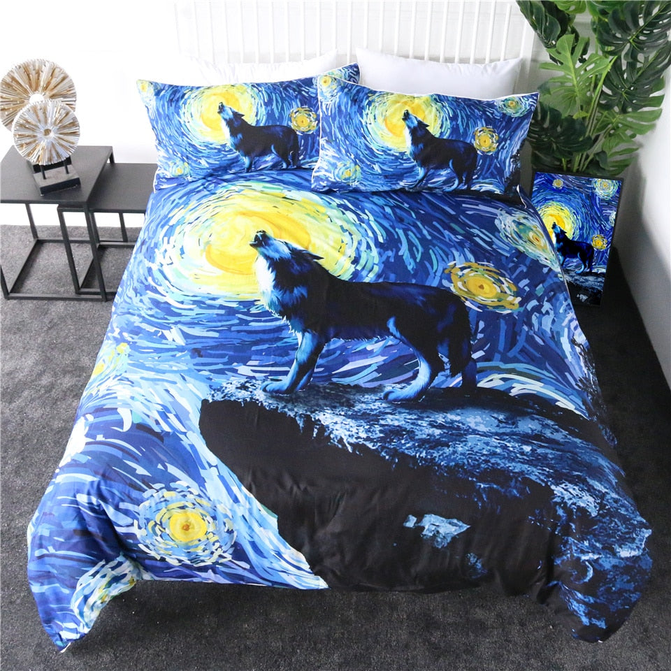 Wolf Galaxy Art Bedding Set