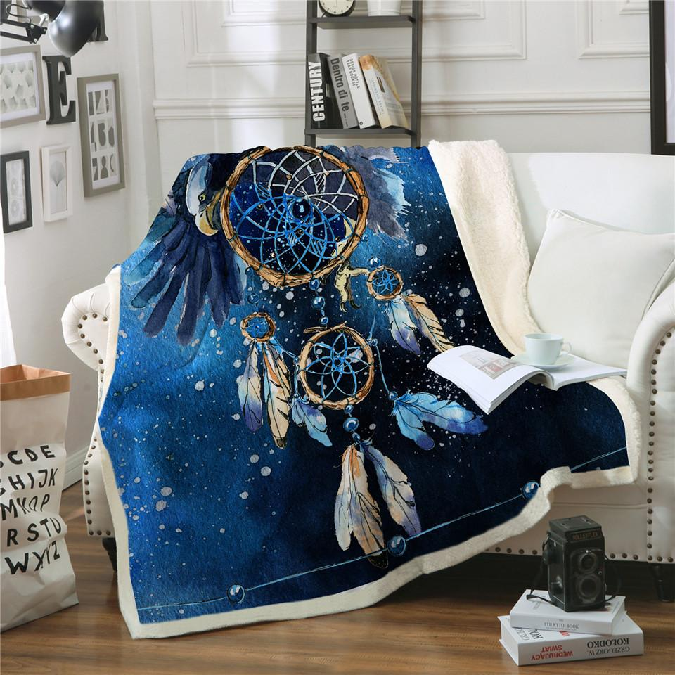 Blue Galaxy Dreamcatcher  Sherpa Blanket