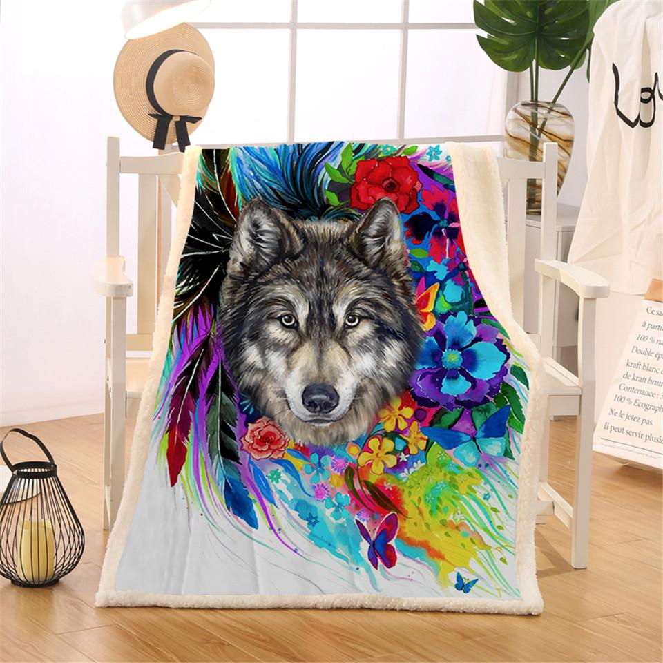 Floral Wolf Sherpa Blanket