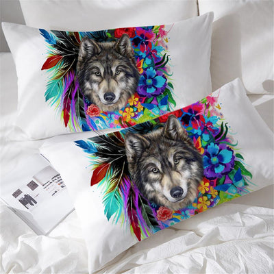 Floral Wolf Pillowcases- Set of 2