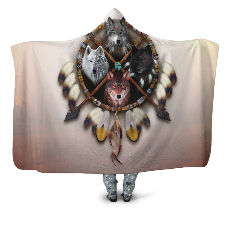 4 Wolves Warrior Hooded Blanket