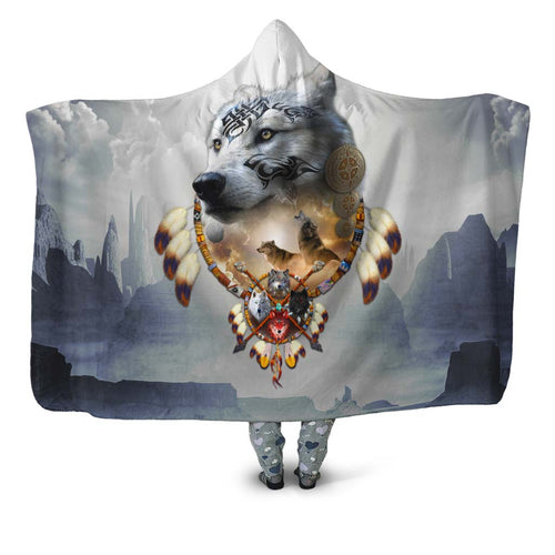 Songs of the Elder Warrior Hooded Blanket Dark