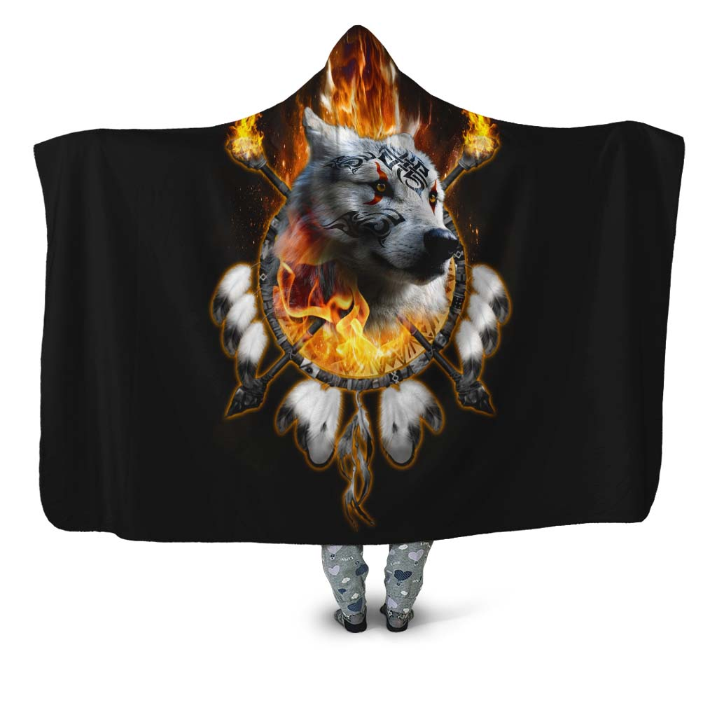 Fire Wolf Chief Hooded Blanket