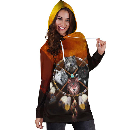 4 Wolves Warrior Hoodie Dress