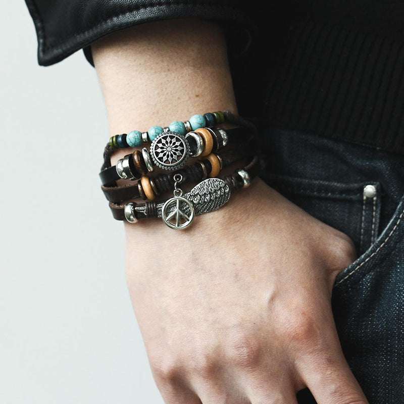 Feather Eye Multi-layer Leather Bracelet