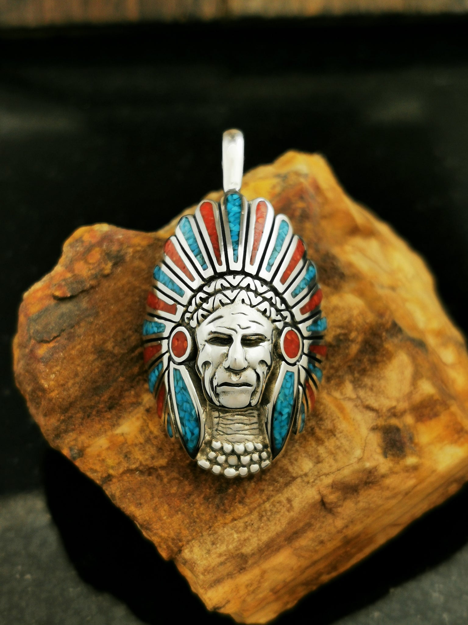 REAL 925 STERLING SILVER Small American Indian Chief Head Red Coral RING