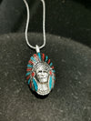 Sterling silver Navajo Chief and Headdress small pendant